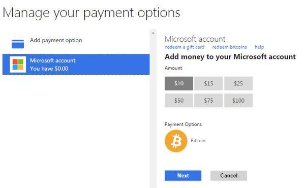 Le opzioni di pagamento offerte da Microsof ai clienti USA