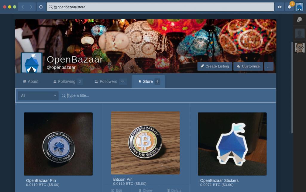 La schermata iniziale di OpenBazaar